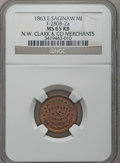 Civil War Merchants, 1863 N.W. Clark & Co., East Saginaw, MI, F-280B-2a, R.7, MS65Red and Brown NGC.. Purchased from James Kelly (11/21/1941)...