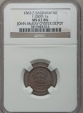 Civil War Merchants, 1863 John McKay, East Saginaw, MI, F-280D-1a, R.6, MS63 Brown NGC..From The Clifton A. Temple Collection....