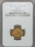 Civil War Merchants, 1861 Foster & Metcalf, Grand Rapids, MI, F-370C-2b, R.5, MS64NGC.. From The Clifton A. Temple Collection....