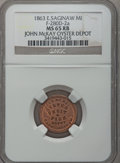 Civil War Merchants, 1863 John McKay, East Saginaw, MI, F-280D-2a, R.7, MS65 Red andBrown NGC.. Purchased from H.E. Wilson (9/24/1940) for 11...