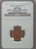 Civil War Merchants, 1864 John McKay, East Saginaw, MI, F-280D-3a, R.9, MS64 Red andBrown NGC.. Purchased from James Kelly (12/20/1941) for50...