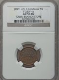Civil War Merchants, (1861-65) Town Branch Store, East Saginaw, MI, F-280F-4a, R.8 AU55NGC.. From The Clifton A. Temple Collection....