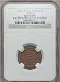 Civil War Merchants, 1863 E.K. Powers, Grand Rapids, MI, F-370I-3a, R.9, MS64 BrownNGC.. From The Clifton A. Temple Collection....