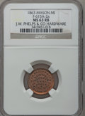 Civil War Merchants, 1863 J.W. Phelps, Mason, MI, F-615A-2a, R.6, MS63 Red and BrownNGC.. Purchased from James Kelly (12/20/1941) for 35cents...