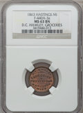 Civil War Merchants, 1863 D.C. Hawley, Hastings, MI, F-440A-3a, R.5, MS63 Brown NGC..Purchased from J. Canfield (2/13/1971) for $20.00..F...