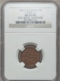 Civil War Merchants, 1863 O.S. Betts, Hillsdale, MI, F-450B-1a, R.5, MS63 Brown NGC..From The Clifton A. Temple Collection....