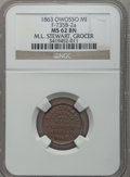 Civil War Merchants, 1863 M.L. Stewart, Owosso, MI, F-735B-2a, R.5, MS62 Brown NGC..From The Clifton A. Temple Collection....