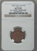Civil War Merchants, 1863 J.R. Foote, Paw Paw, MI, F-745A-2a, R.8 MS62 Brown NGC.. From The Clifton A. Temple Collection....