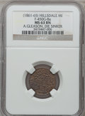 Civil War Merchants, (1861-65) A. Gleason (1187), Hillsdale, MI, F-450G-8a, R.6, MS63Brown NGC.. Purchased from O. Kersteiner (1/9/1939) for 1...