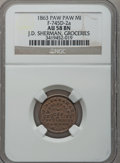 Civil War Merchants, 1863 J.D. Sherman, Paw Paw, MI, F-745D-2a, R.5, AU58 NGC.. From The Clifton A. Temple Collection....