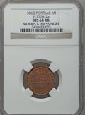 Civil War Merchants, 1863 Morris & Messinger, Pontiac, MI, F-770B-2a, R.8 MS64 Redand Brown NGC.. Purchased from James Kelly (12/20/1941) for...