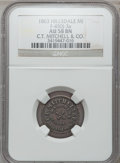 Civil War Merchants, 1863 C.T. Mitchell & Co., Hillsdale, MI, F-450J-3a, R.9, AU58NGC.. Purchased from James Kelly (12/20/1941) for 35 cents....