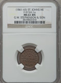 Civil War Merchants, (1861-65) G.W. Stephenson, St. Johns, MI, F-915A-1a, R.5, MS61Brown NGC.. Purchased from C. Fisher (9/28/1939) for 6cent...