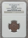 Civil War Merchants, 1863 Samm & Kuhlke, Hillsdale, MI, F-450M-1a, R.7, MS61 BrownNGC.. From The Clifton A. Temple Collection....
