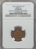 Civil War Merchants, 1863 Gillett & Niles, Hudson, MI, F-480C-1a, R.8 AU58 NGC..Purchased from James Kelly (12/20/1941) for 70 cents. Said to...