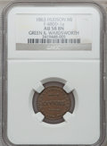Civil War Merchants, 1863 Green & Wardsworth, Hudson, MI, F-480D-1a, R.6, AU58 NGC..Purchased from L. Dodd (8/28/1938).. From The Clifton...