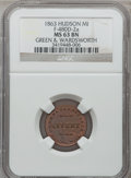 Civil War Merchants, 1863 Green & Wardsworth, Hudson, MI, F-480D-2a, R.9, MS63 BrownNGC.. Purchased from James Kelly (12/20/1941) for 70cents...