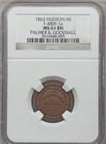 Civil War Merchants, 1863 Palmer & Goodsall, Hudson, MI, F-480F-1a, R.6, MS61 BrownNGC.. From The Clifton A. Temple Collection....