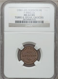 Civil War Merchants, (1861-65) Tubbs & Spear, Hudson, MI, F-480G-2a, R.7, MS62 BrownNGC.. From The Clifton A. Temple Collection....