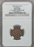 Civil War Merchants, 1863 F. Sloan, Ionia, MI, F-495B-2a, R.8 MS63 Brown NGC.. FromThe Clifton A. Temple Collection....