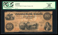 Canadian Currency: , Toronto, ON- The Colonial Bank of Canada $20 18__ Ch #130-10-02-14R Remainder. ...