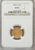 Liberty Quarter Eagles: , 1854-O $2 1/2 XF45 NGC. NGC Census: (48/359). PCGS Population(37/170). Mintage: 153,000. Numismedia Wsl. Price for problem...