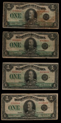Canadian Currency: , DC-25n $1 1923 Two Examples. DC-25o $1 1923 Two Examples. ...(Total: 4 notes)