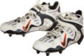 Football Collectibles:Others, 1998 Terrell Davis Super Bowl XXXII Game Issued Cleats, and Game Worn Regular Season Gloves....