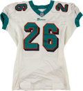 Football Collectibles:Uniforms, 2001 Lamar Smith Game Worn, Signed Miami Dolphins Jersey....
