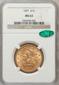 Liberty Eagles: , 1897 $10 MS63 NGC. CAC. NGC Census: (1214/189). PCGS Population(579/102). Mintage: 1,000,159. Numismedia Wsl. Price for pr...
