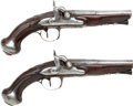 Handguns:Derringer, Palm, Matched Pair of French Percussion Pistols Made by Barbey ofParis.... (Total: 2 Items)