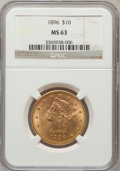 Liberty Eagles: , 1896 $10 MS63 NGC. NGC Census: (210/19). PCGS Population (133/9).Mintage: 76,200. Numismedia Wsl. Price for problem free N...