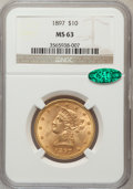 Liberty Eagles: , 1897 $10 MS63 NGC. CAC. NGC Census: (1212/191). PCGS Population(578/97). Mintage: 1,000,159. Numismedia Wsl. Price for pro...