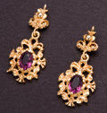Estate Jewelry:Earrings, Amethyst Gold Earrings. ...