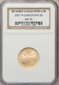 2007-W $5 Jamestown MS70 NGC. Ex: US Vault Collection L/M. NGC Census: (2407). PCGS Population (714). Numismedia Wsl. Pr...