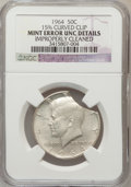 Errors, 1964 50C Kennedy Half Dollar -- 15% Curved Clip, Improperly Cleaned -- NGC Details. UNC....