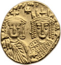 Ancients:Byzantine, Ancients: Constantine VI and Irene (AD 780-797). AV solidus (19mm,4.43 gm, 6h). ...