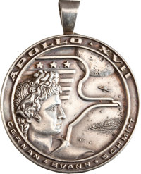 Apollo 17 Flown Silver Robbins Medallion Originally from the Personal Collection of Mission Commander Gene Cernan, Seria...