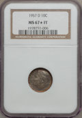 1957-D 10C MS67 ★ Full Torch NGC. NGC Census: (56/0). PCGS Population (17/0). Mintage: 113,354,328. Numismedia Wsl. Pric...