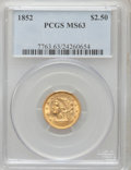 Liberty Quarter Eagles: , 1852 $2 1/2 MS63 PCGS. PCGS Population (71/49). NGC Census:(84/62). Mintage: 1,159,681. Numismedia Wsl. Price for problem ...