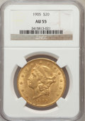 Liberty Double Eagles: , 1905 $20 AU55 NGC. NGC Census: (64/660). PCGS Population (53/526).Mintage: 58,900. Numismedia Wsl. Price for problem free ...