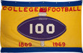 Football Collectibles:Others, 1969 College Football 100 Year Anniversary Banner....