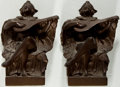 Books:Prints & Leaves, [Bookends]. Pair of Matching Harlequin Bookends. Metal with bronzefinish. A few light surface rubs and a bit dusty, but wit...(Total: 2 Items)