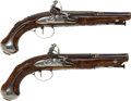 Handguns:Muzzle loading, Fine Pair of Unmarked Italian Flintlock Pistols.... (Total: 2 )