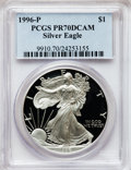 Modern Bullion Coins: , 1996-P $1 Silver Eagle PR70 Deep Cameo PCGS. PCGS Population (489).NGC Census: (579). Numismedia Wsl. Price for problem f...