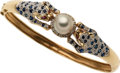 Estate Jewelry:Bracelets, Cultured Pearl, Sapphire, Diamond, Gold Bracelet. ...