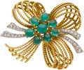 Estate Jewelry:Brooches - Pins, Emerald, Diamond, Platinum, Gold Brooch. ...