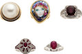 Estate Jewelry:Lots, Diamond, Ruby, Mabe Pearl, Portrait, Gold Rings. ...