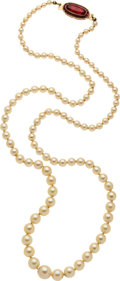 Estate Jewelry:Pearls, Cultured Pearl, Synthetic Ruby, Gold Necklace. ...