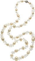 Estate Jewelry:Necklaces, Baroque South Sea Cultured Pearl, White Topaz, Diamond, White GoldNecklace. ...